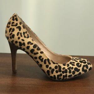 Lands' End calfskin leopard print heels size 6